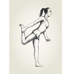 Sketch of a woman stretching her leg vector