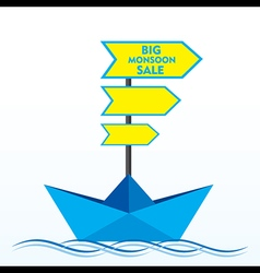 Big clearance sale banner design with boat concept vector
