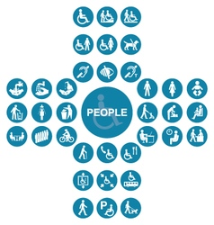Blue cruciform disability and people icon collecti vector