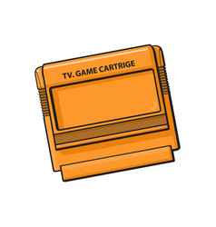 Tv game cartridge in plastic orange case from 90s vector
