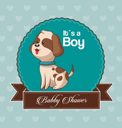 Baby shower card invitation its a boy vector