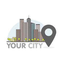 Eco green modern city thin line with pointer logo vector