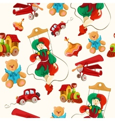 Toys colored drawn seamless pattern vector