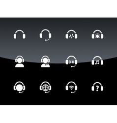 Headphones icons on black background vector
