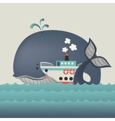 Whale and steamship in blue sea vector