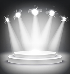 Studio with podium and spotlights grey show light vector