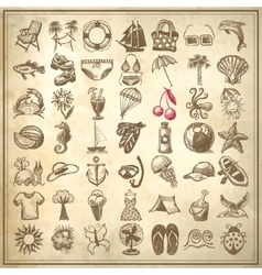 49 hand draw sketch summer icons collection vector image