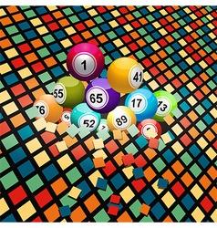 Bingo balls breaking a coloured tiles background vector image