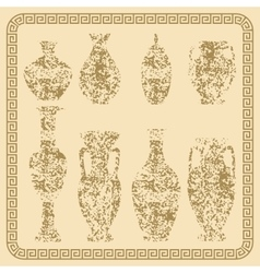 Set of antique vases vintage vector