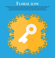 Key floral flat design on a blue abstract vector