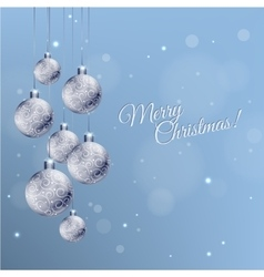 Christmas card with silver decorated balls in vector