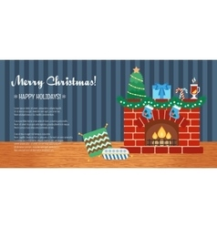 Horizontal christmas gift card christmas vector