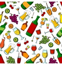 Alcohol drinks and fruits seamless pattern vector