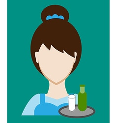 Profession people waitress face male uniform vector