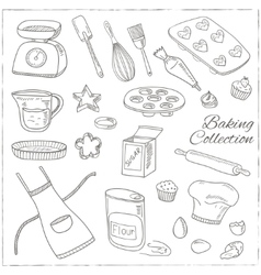 Set of baking tools hand drawn collection vector