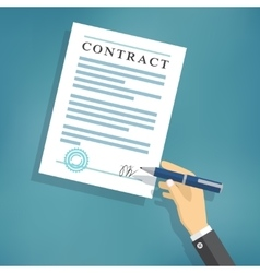Hand signing contract on white paper vector