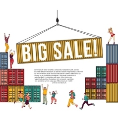 Big sale group happy people shopping container and vector