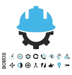 Development helmet flat icon with bonus vector