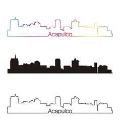 Acapulco skyline linear style with rainbow vector image