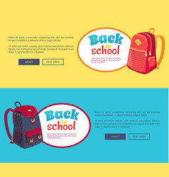 Back to school posters with fashionable backpack vector
