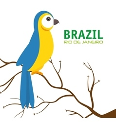 Bird macaw blue and yellow brazil vector