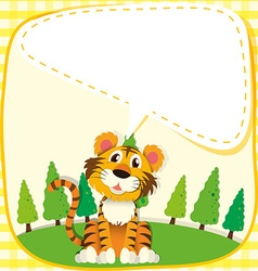 Border design with lion in the park vector image vector image