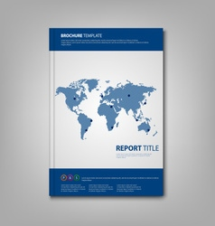 Brochures book or flyer with blue abstract world vector