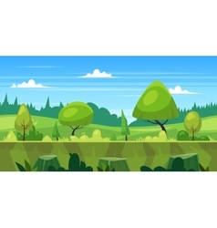 Cartoon nature seamless landscape with trees vector image vector image