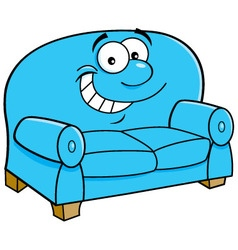 Cartoon smiling couch vector