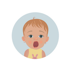 cute shocked baby emoticon scared child emoji vector image