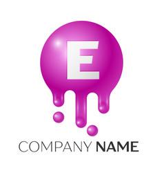 E letter splash logo purple dots and bubbles vector