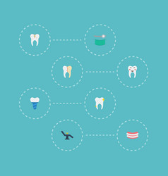 Flat icons decay artificial teeth implantation vector
