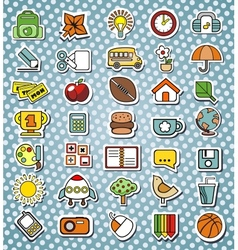 Funny elementary school icons vector