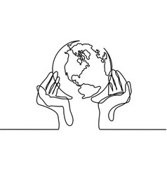 globe of the earth in human hands vector image vector image