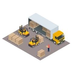Logistics concept Loading cargo in the truck vector image vector image
