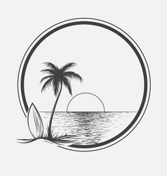 palm beach on summer sea vector image