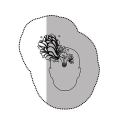Person with bulb brain icon vector