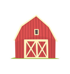 red barn wooden agricultural building with closed vector image vector image