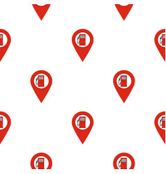 Red map pin with gas station sign pattern flat vector