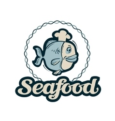 seafood logo fishing fish or restaurant vector image