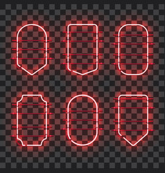 set of realistic glowing red neon frames vector image vector image