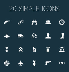 Set of simple army icons vector