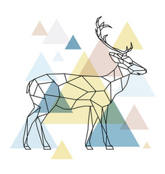 silhouette of a geometric deer standing vector image