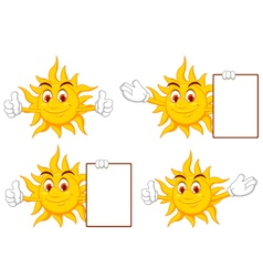 Sun cartoon collection vector