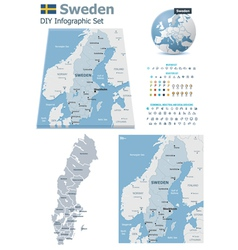 Sweden maps with markers vector image vector image