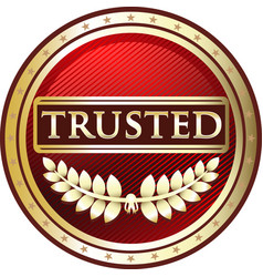 trusted red icon vector image