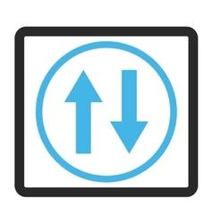 Vertical flip arrows framed icon vector