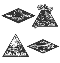 Vintage fishing emblems vector image