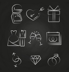 Wedding thin line icons on chalkboard vector