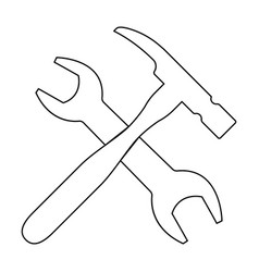 wrench and hammer the black color icon vector image vector image